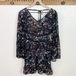 Bongo Sheer Black Floral Lace Bell Sleeve Tunic